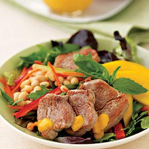 Pork and bean Salad with Mango Dressing