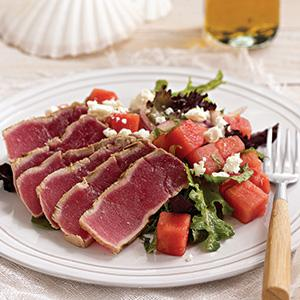 Grilled Tuna Steaks with Watermelon-Feta Salad