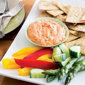 Roasted Red Pepper Dip with Herbed Tortilla Crisps