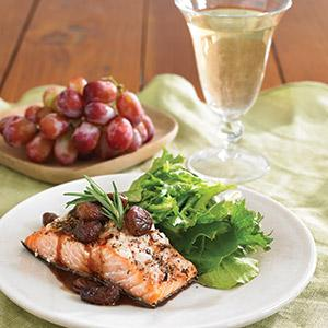 Salmon with Balsamic Roasted Grape Relish