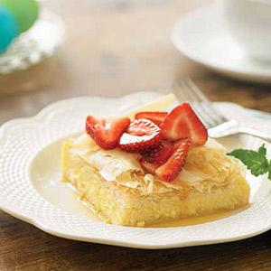 Galaktoboureko (greek Custard Squares) With Fresh Strawberry Sauce