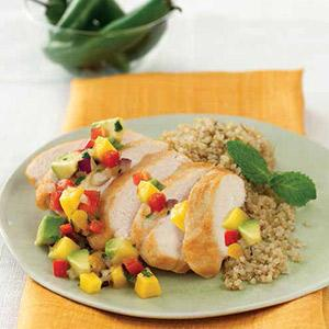 Chicken With Serrano Chili Mango Salsa
