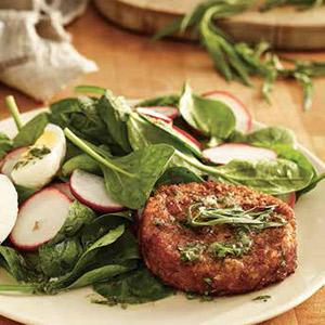 Spring Spinach And Crab Cake Salad With Dijon Vinaigrette