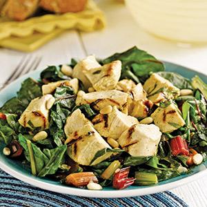 Grilled Chicken Salad with Rainbow Chard
