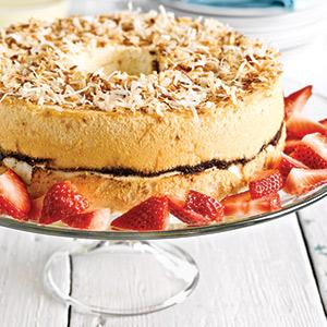 Chocolate-Swirled Coconut Angel Cake with Creme Anglaise