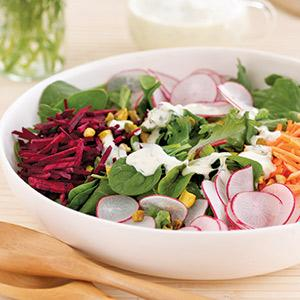 Rainbow Salad with Yogurt Dressing
