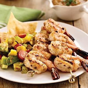 Grilled Shrimp with Salsa Fresca and Avocado Salad
