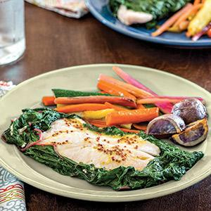 Chard-Steamed Tilapia with Vegetable Sautee