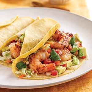 Shrimp Tacos with Avocado Salad