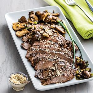 Ginger-Sesame Grilled Steak with Mushrooms and Scallions