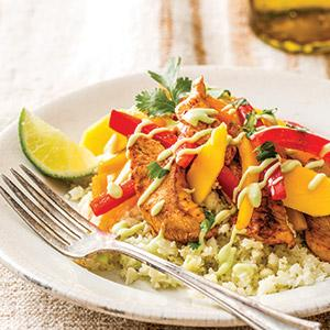 "Chicken Fajitas over Cauliflower ""Rice"""