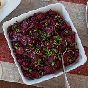 Braised Beets and Chorizo
