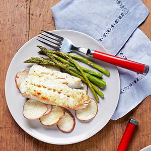 Parmesan-Baked Haddock with Spring Vegetables