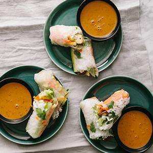 Marinated Tofu and Vegetable Summer Rolls