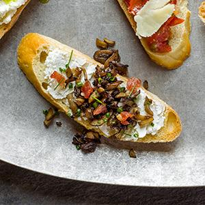 Mushroom, Bacon, and Goat Cheese Crostini