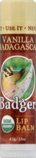 Badger Organic Vanilla Madagascar Lip Balm Stick