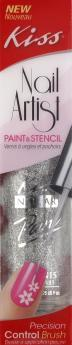 Kiss Nail Paint & Stencil Silver Glitter